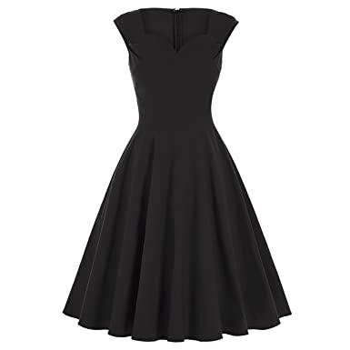 Black Sexy Short Evening Party 50s 60s Vintage Retro Dresses Rockabilly Pinup Casual Vestidos,Black