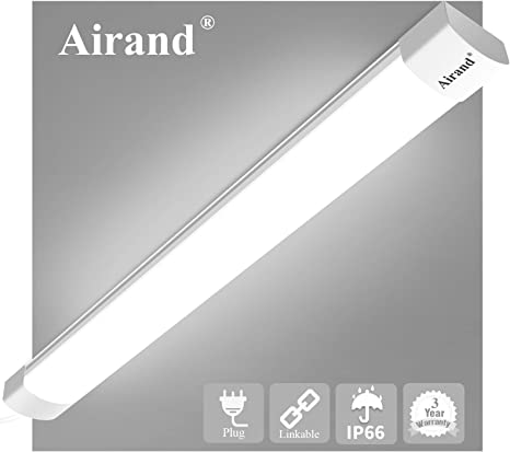Amazon Com Utility Led Shop Light Fixture 2ft 4ft With Plug Airand Waterproof Linkable Led Tube Light 5000k Under Cabinet Lighting 1800 Lm Led Ceiling And Closet Light 18w Corded Electric With On Off Switch