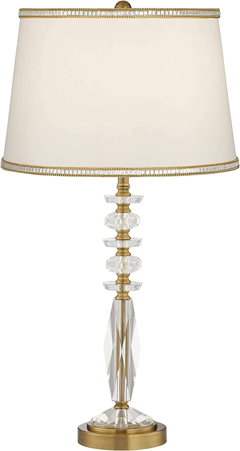 Mona Modern Table Lamp Stacked Crystal Glass Globe Chrome Drum Shade for Living Room Family Bedroom Nightstand - Vienna Full Spectrum Stacked Gold & Cut Crystal
