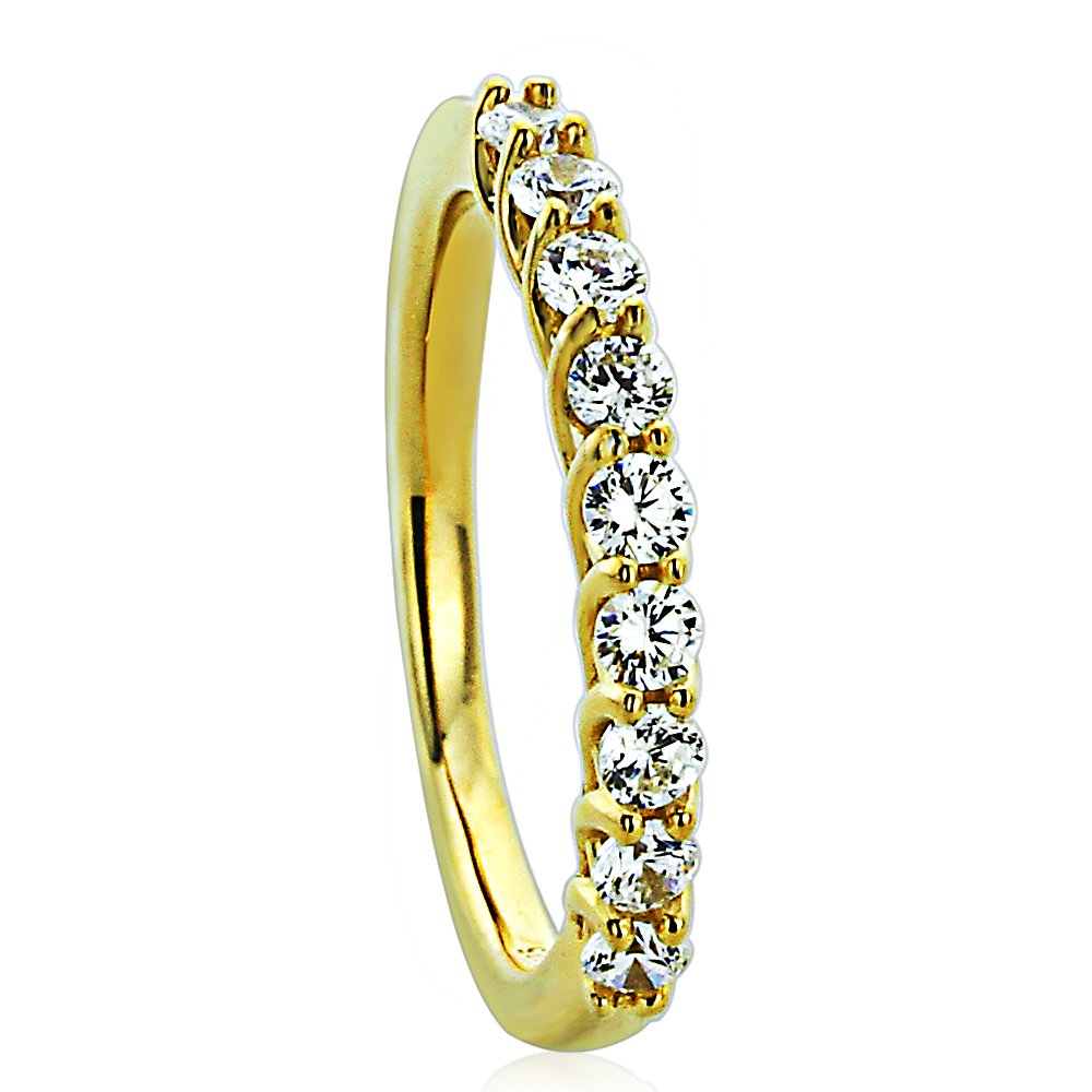 Sterling Silver 14K Gold Plated Wedding Ring Round CZ Nine Stone Anniversary Ring 2MM (Size 5 to 10), 8