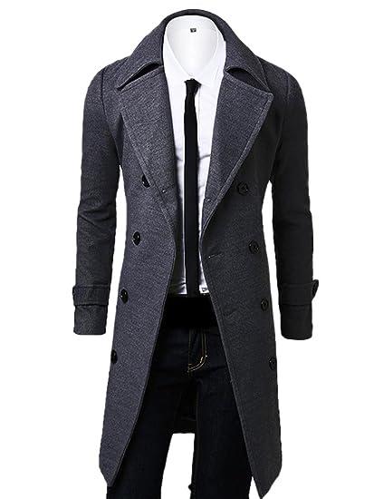 c82351b4e861 OCHENTA Men's Double Breasted Turn Down Collar Woolen Overcoat Gray Asian  Size XL-UK XS