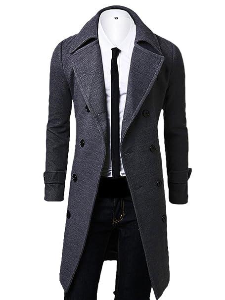 OCHENTA Hombres de Doble Breasted Turn Down Cuello Lana Overcoat: Amazon.es: Ropa y accesorios