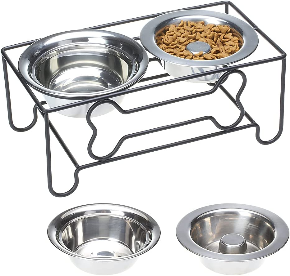 Raised Dog Bowls - Elevated Dog Food Bowl, Stainless Steel Dog Slow Feeder Bowls with Iron Stand