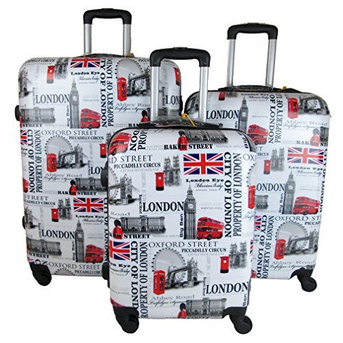 SET 3 TROLLEY ORMI RIGIDO CABINA 4 RUOTE BAGAGLIO A MANO new London