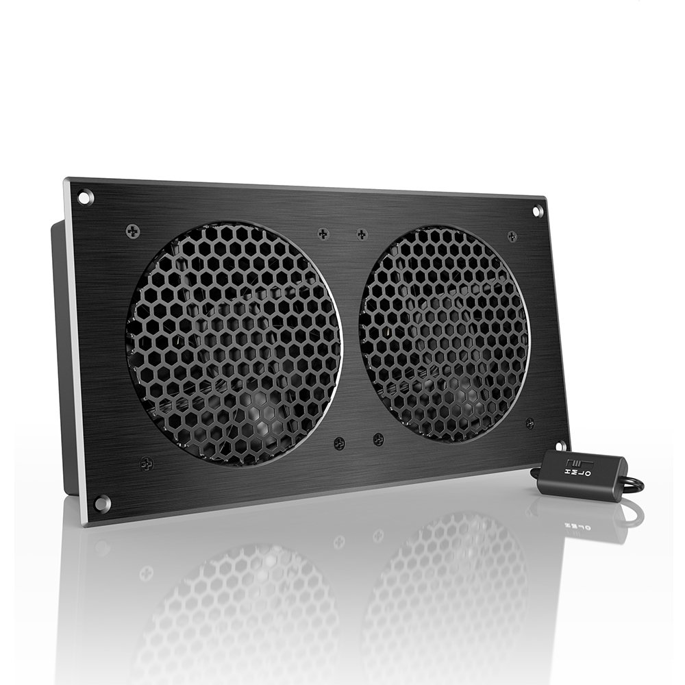 AC Infinity AIRPLATE S7, Quiet Cooling Fan System 12'' with Speed Control, for Home Theater AV Cabinets