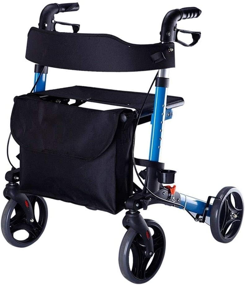 ZXL Andadores estándar y Marcos para Caminar Andador Plegable Carro de Compras Anciano Carro de Compras de extremidades Inferiores Rehabilitación Entrenamiento Coche de Cuatro Ruedas Caminante d