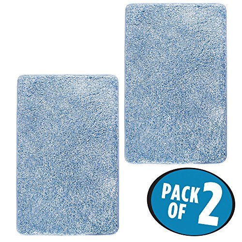mDesign Soft Microfiber Polyester Non-Slip Rectangular Spa Mat, Plush Water Absorbent Accent Rug for Bathroom Vanity, Bathtub/Shower, Machine Washable - 34 x 21 - 2 Pack - Heathered Light Blue