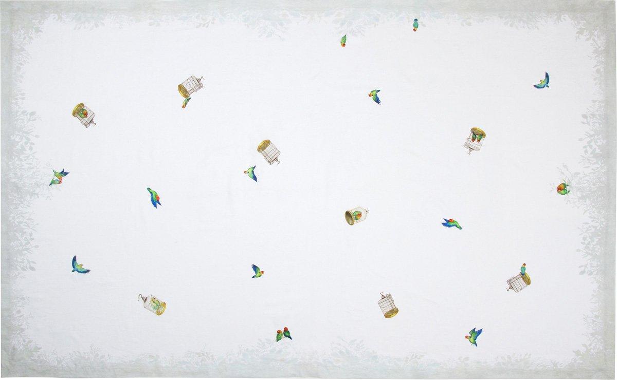 Lovebirds Pure Linen Tablecloth, 66''x126'' Rectangle