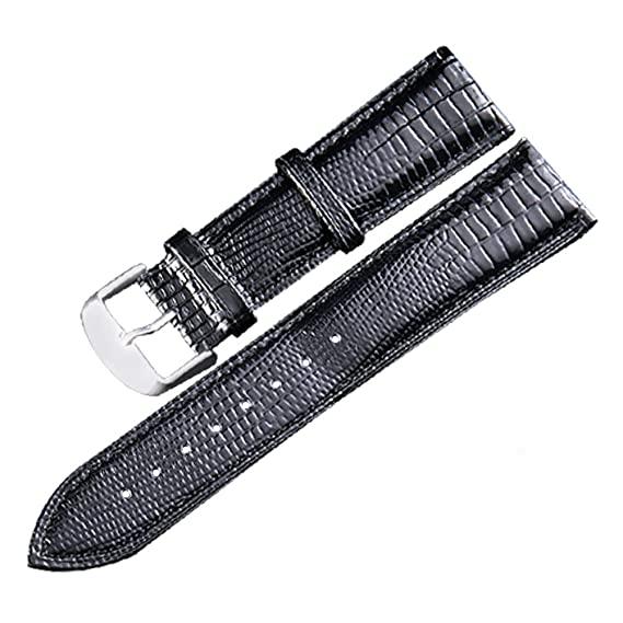18 mm Correas de Reloj Negro Lagarto Correa de Reloj de Grano de reemplazo Cuero Genuino Pulsera de la Correa de muñeca: Amazon.es: Relojes