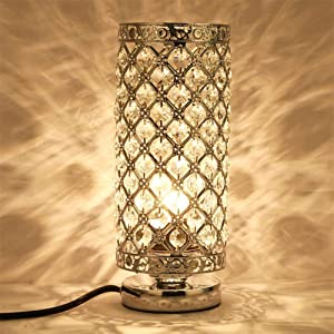 Table Lamp for Bedroom Bedside Night Light Lamp with Press Switch Crystal Table Lamp for Bedroom Living Room Dining Room
