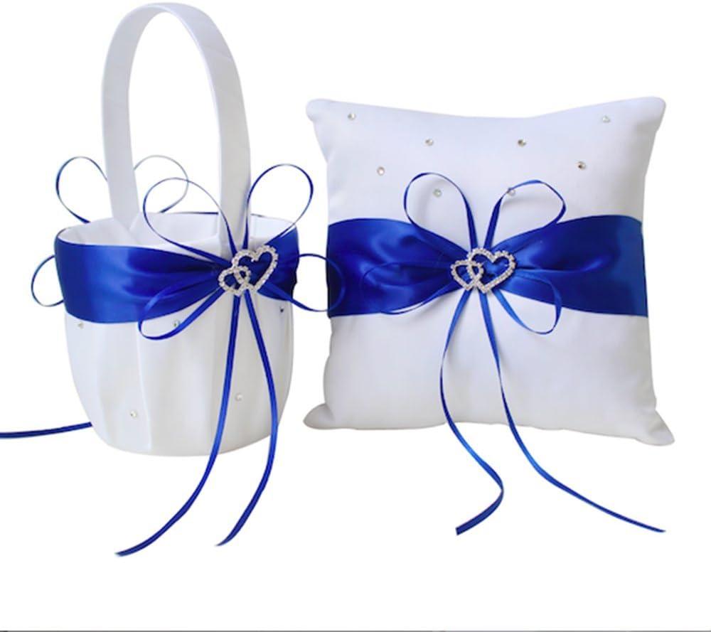 Amajoy 2pcs Wedding Set White Satin and Royal Blue Flower Girl Basket and Ring Pillow Set with Double Heart Rhinestone Decor