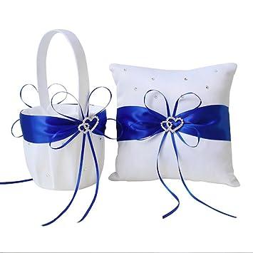 AmaJOY Juego de cesta blanca satinada y azul royal para niña y almohada para anillos con doble corazón de brillantes de imitación