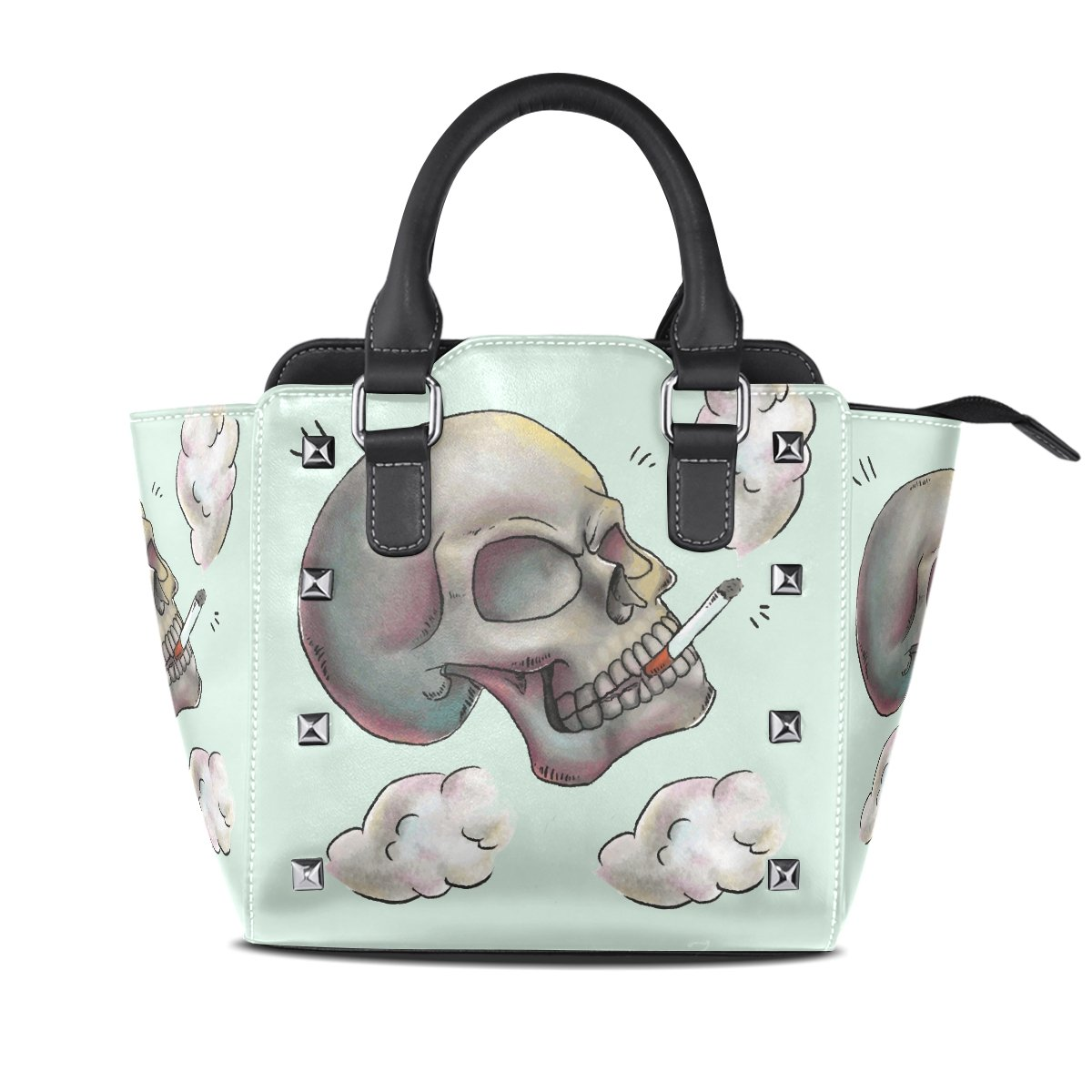 Womens Genuine Leather Hangbags Tote Bags Smoking Skull Purse Shoulder Bags