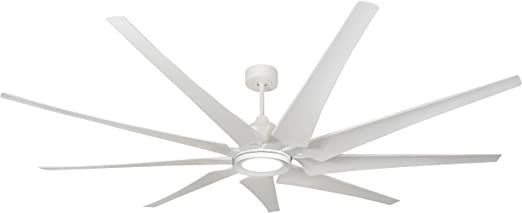 Troposair Liberator 82 Pure White Large Ceiling Fan With Led Light Dc Motor And Remote Amazon Com
