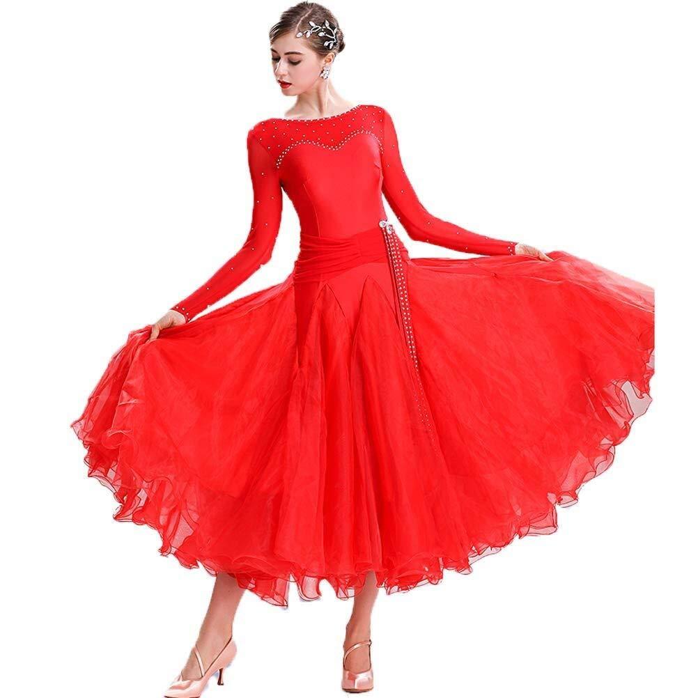 rouge X-grand Diyade Classique Simple Moderne Danse Perforhommece Robes Professional Tango Valse Foxtrouge Compétition Grand Swing Robe VêteHommests (Couleur   bleu, Taille   XXL)