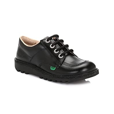 buy cheap various styles entire collection Kickers Kick Lo Flat lace up Shoe Black Leather Suitable for Work, Back to  School, Casual/Smart. in Sizes UK3-6/EU 36-39/ US 5-8.