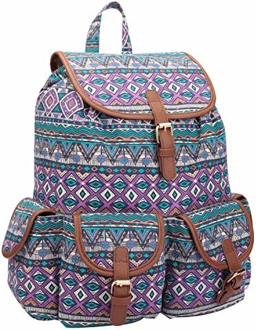 b1b5982964e4 Quenchy London 15 Colours Canvas Backpack Rucksack - Girls Ladies Womens  Casual Daypack Bags 20 Litre Medium School Hand Luggage Size Backpacks 5  Pockets ...