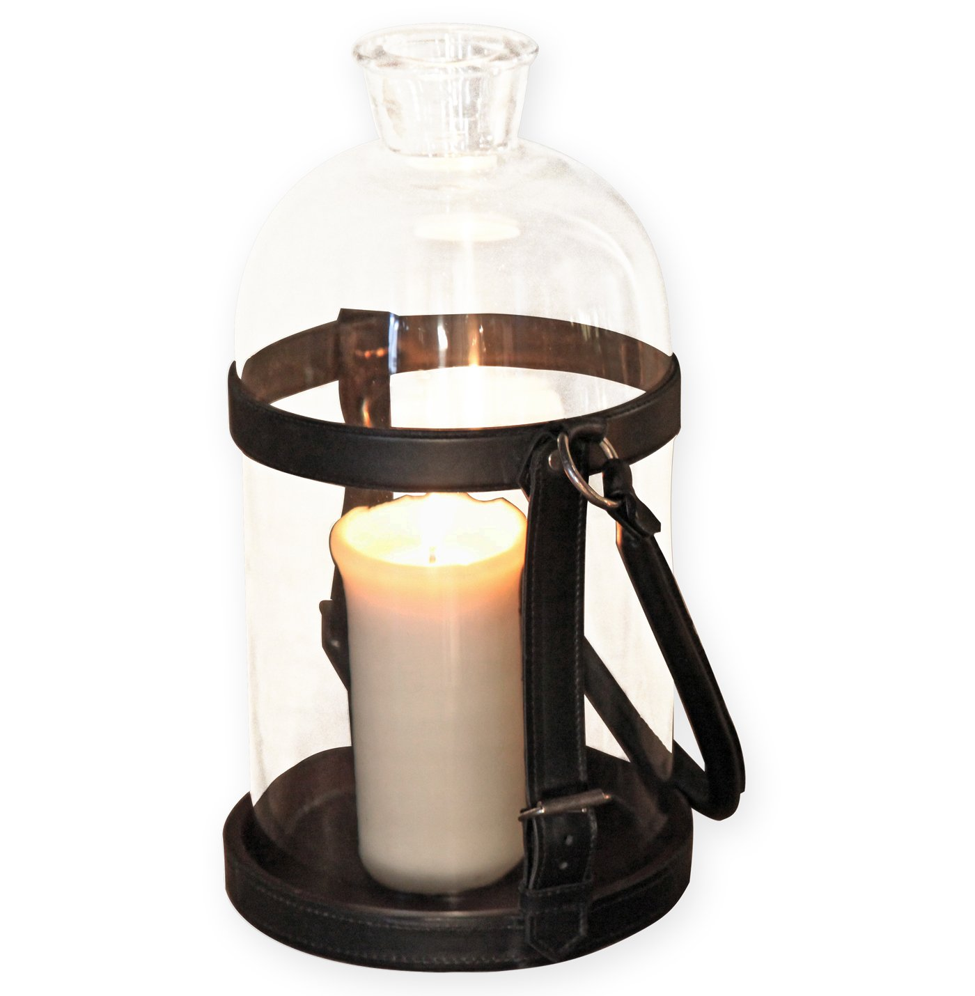 Sven Rustic Lodge Glass Leather Lantern Candle Holder - 19.5 Inch