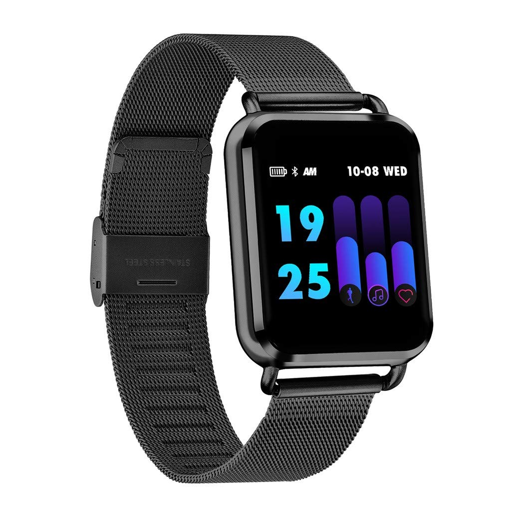 JDgoods Smart Fitness Watch, Color Screen Sport Health Tracker, Activity Tracker with Heart Rate Blood Pressure Calories Pedometer Sleep Monitor Call/SMS Remind for Smartphones Gift (Black)