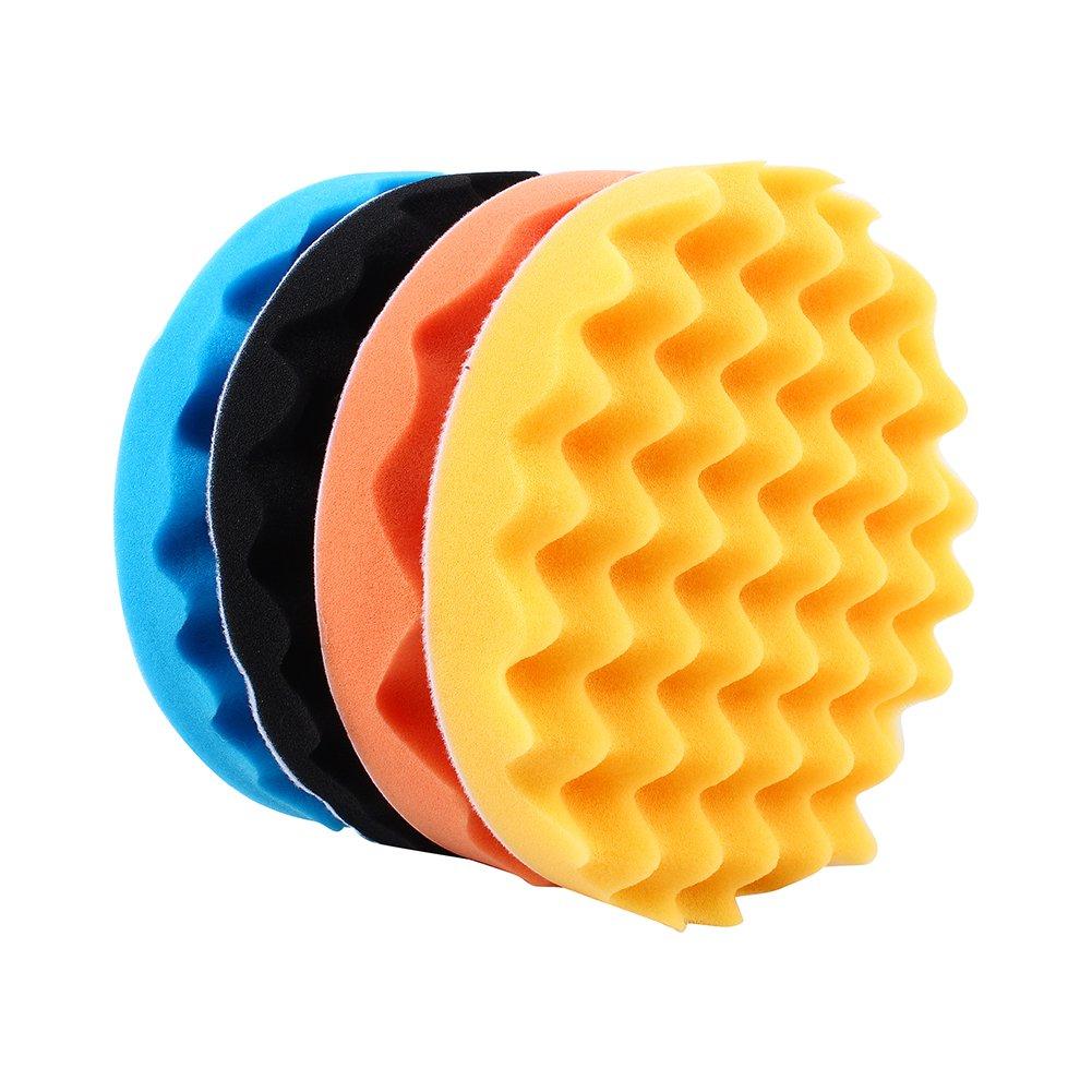 7'' Car Buffing Pads Polishing Sponge Pads Kit for Car Sanding Polisher Buffer Wash Cleaning 4pcs Set by Yosoo (Image #3)