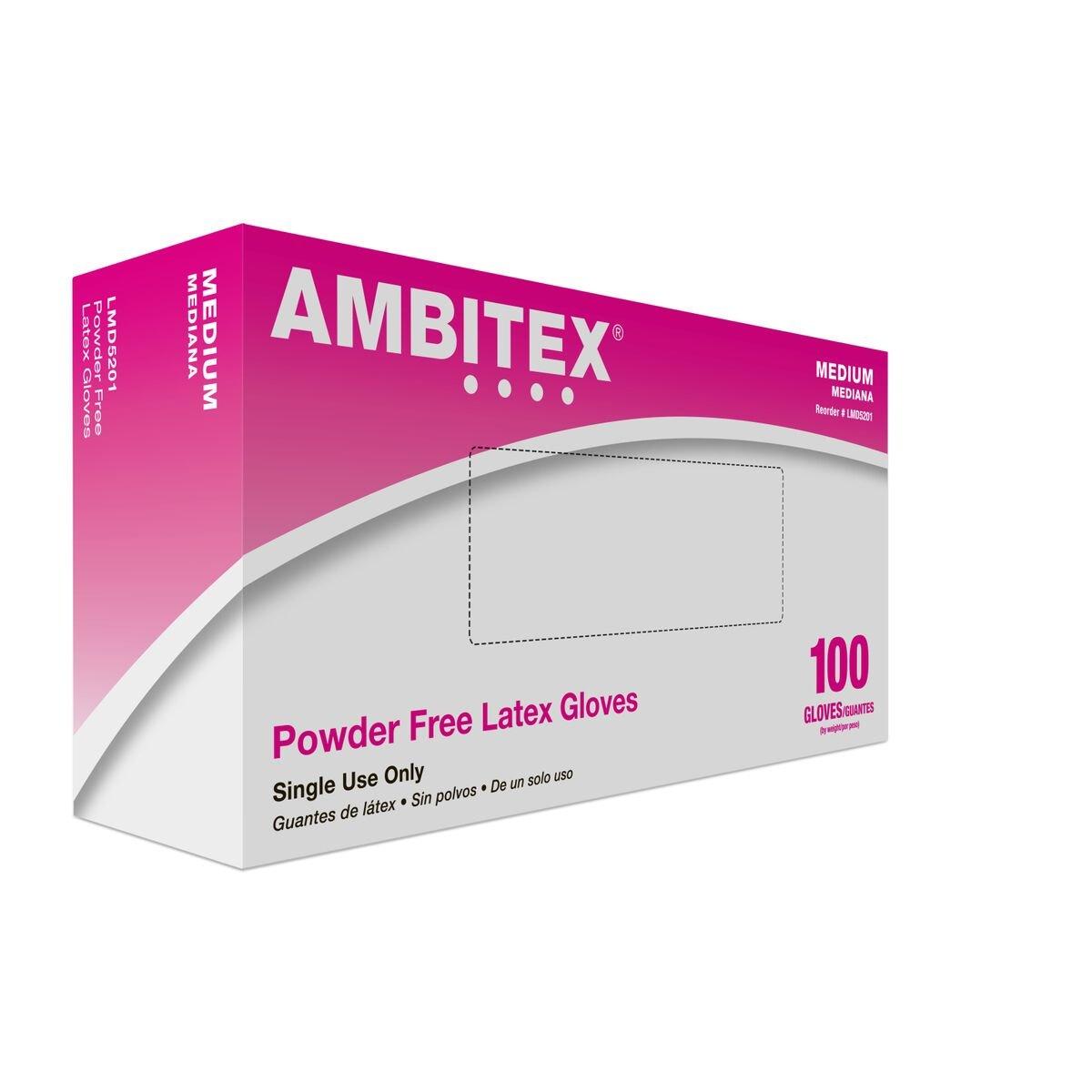 Tradex LMD5201 Ambitex Latex Powdered Free Multi-Purpose Gloves, Medium, Cream (Pack of 1000)