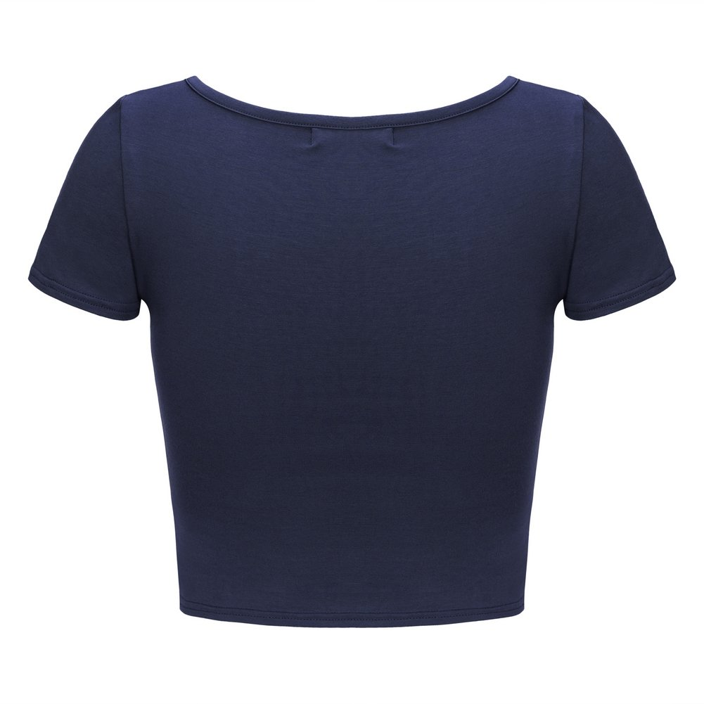 OThread /& Co Womens Basic Crop Tops Stretchy Casual Scoop Neck Cap Sleeve Shirt