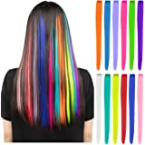 12 Pcs Colored Party Highlights Colorful Clip in Hair Extensions 22 inch Straight Synthetic Hairpieces for Women Kids…