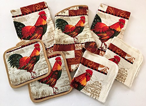 7 Piece Colorful Rooster Kitchen Linen Bundle With 2 Dish Towels, 2 Dish Cloths, 2 Potholders, and 1 Oven Mitt