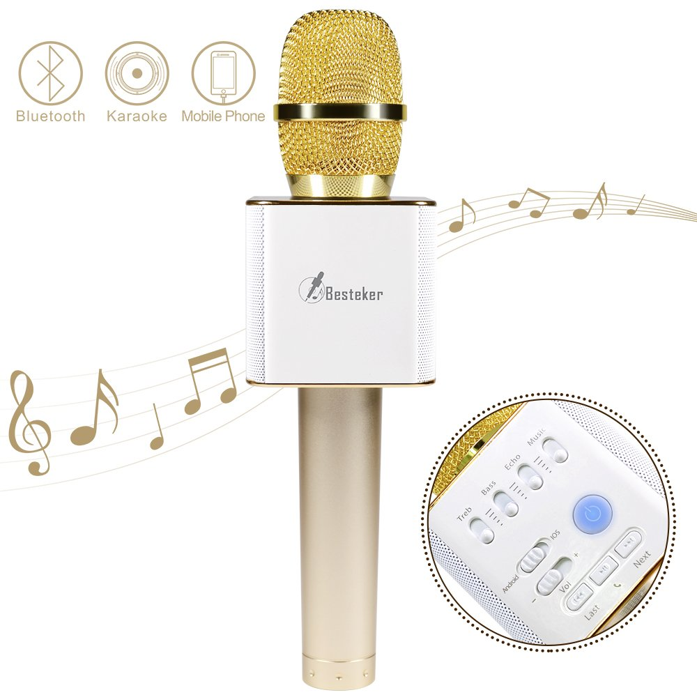 Wireless Karaoke Microphone, Besteker Portable Bluetooth Speaker Machine for iPhone Android, PC and Smartphone (Gold) Q9