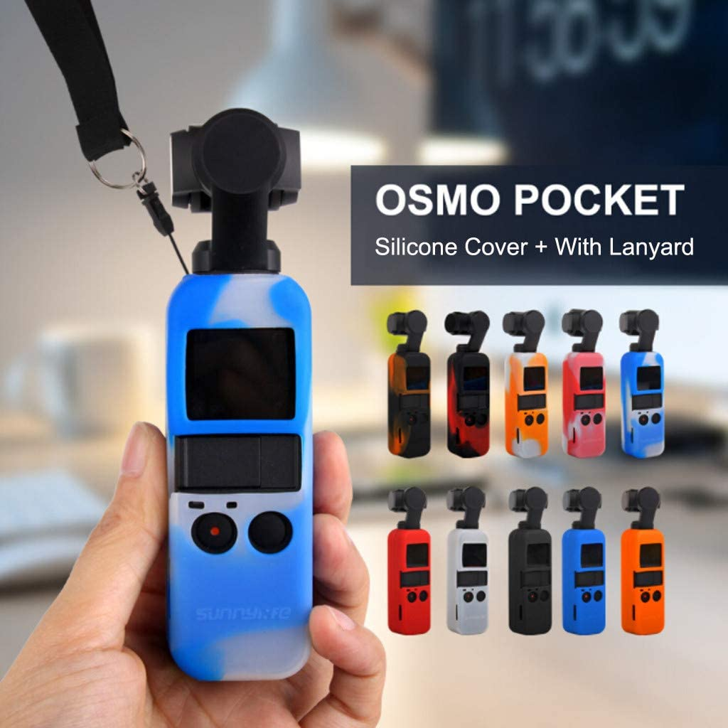 Vacally Silicone Cover Case for DJI OSMO Pocket Gimbal Camera with Handheld Lanyard for Osmo Pocket Protective Accessories