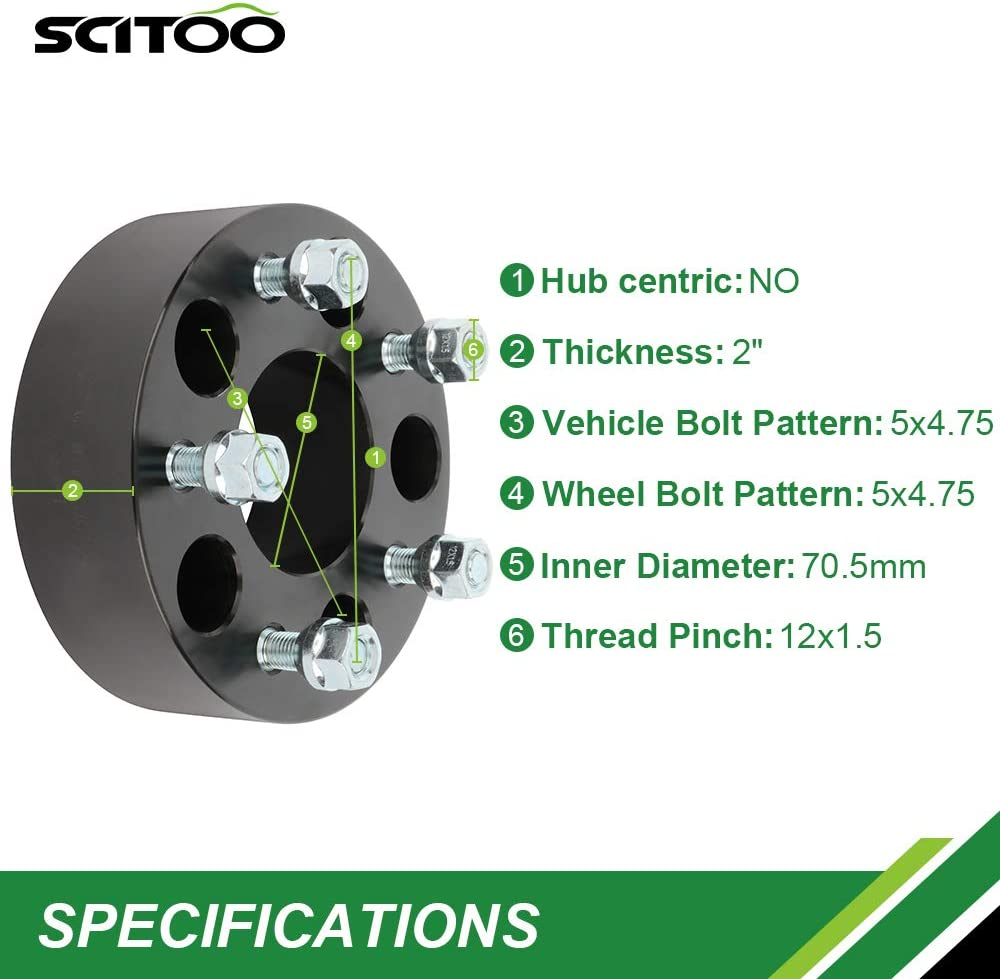 SCITOO 2X 2 inch 5x4.75 to 5x4.75 70.5mm Wheel Spacers 50mm 5 Lug Compatible with for Cadillac Eldorado for GMC Sonoma 12x1.5 Studs