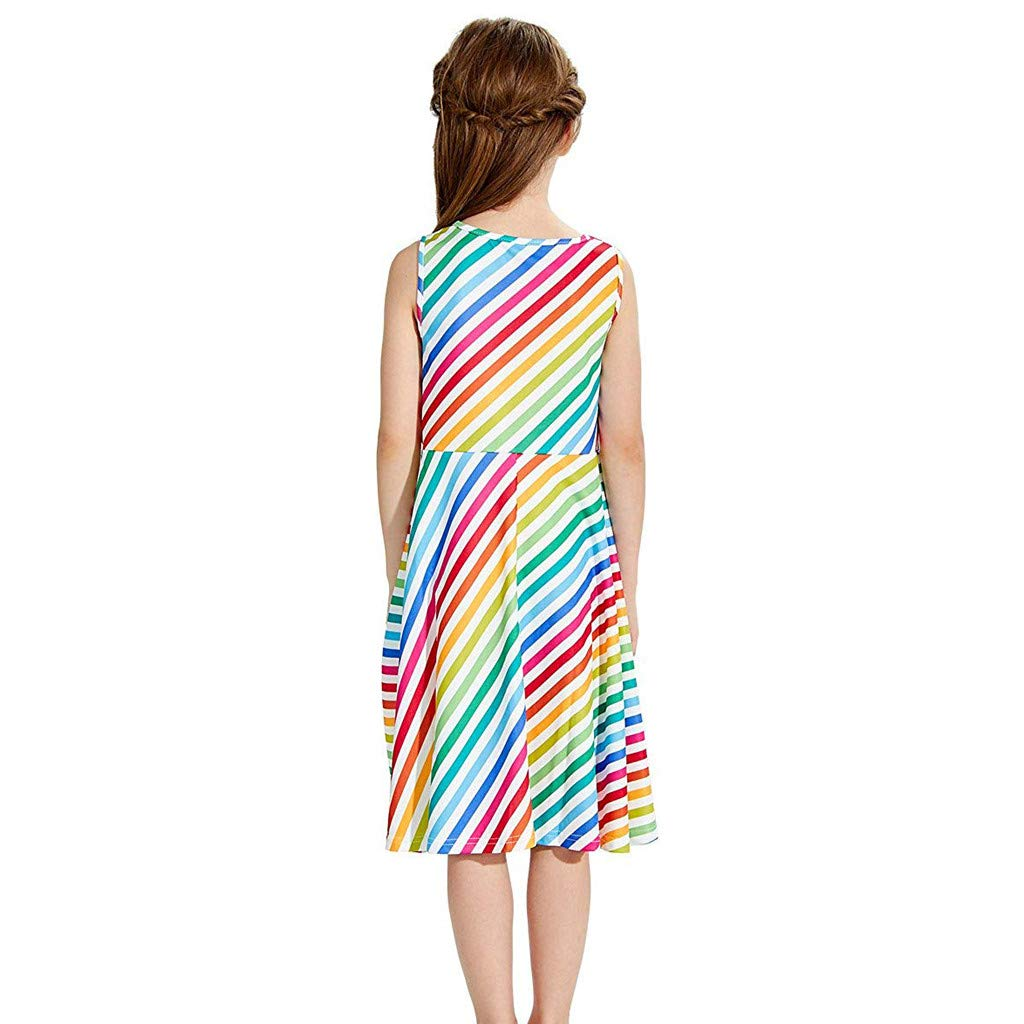 ❤Ywoow❤ for 4-13 Years Old Girls Summer Dresses Girl Sleeveless Striped Dress Teen Kids School Party Dresses Sundress Long Skirt Clothes