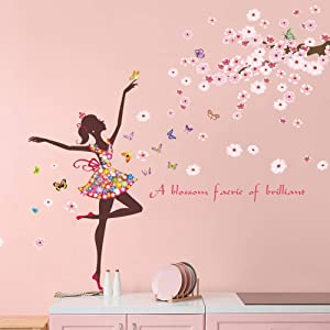 Supzone Cherry Flower Fairy Wall Sticker Butterfly Dancing Girl Wall Decal Romovable Vinyl Wall Decor for Girls Baby Nursery Bedroom Living Room Kids Bathroom Wall Decor Mural