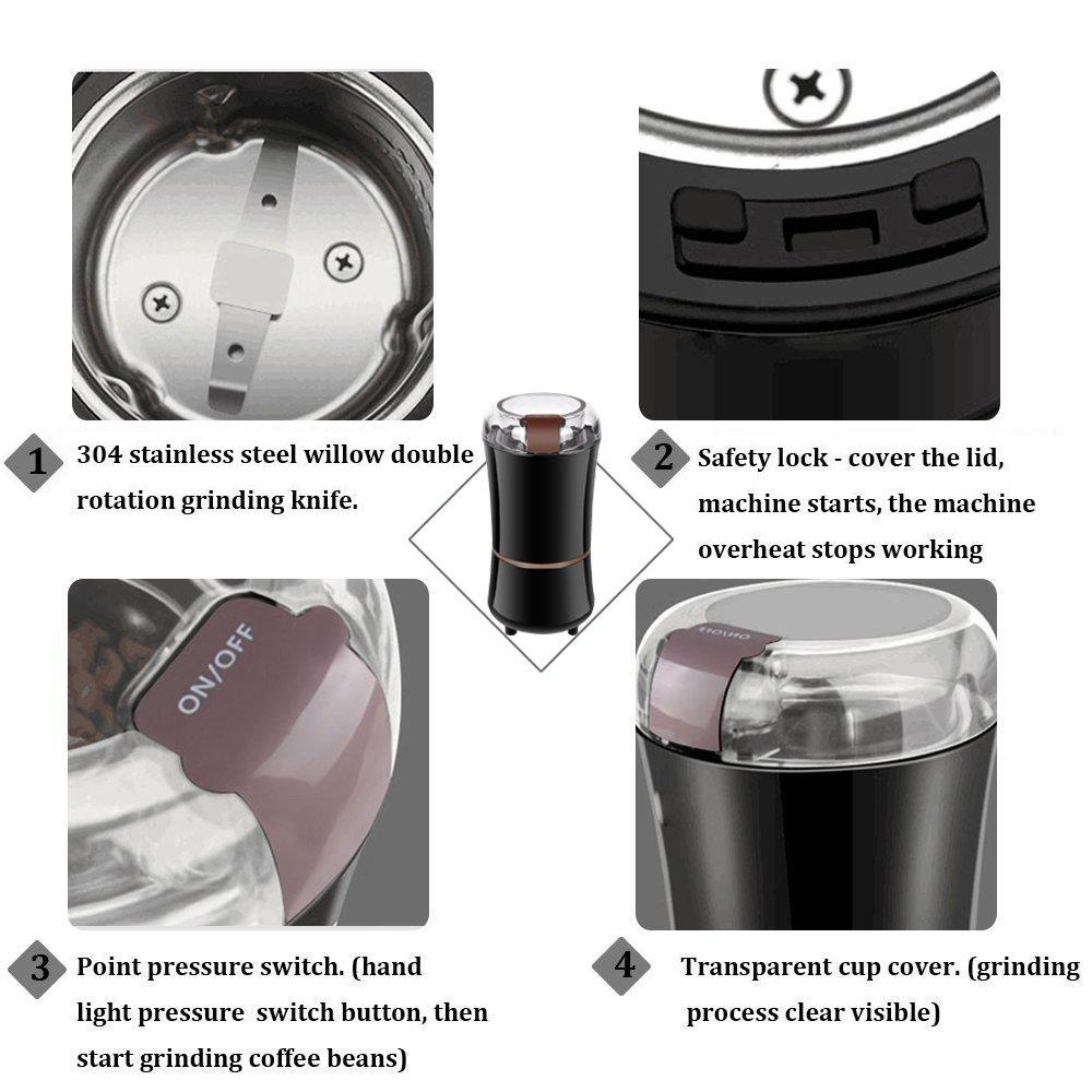 60g Fassungsverm/ögen Schwarz AONCO Elektrische Kaffeem/ühle 400W Kaffeebohnen N/üsse Gew/ürze Getreide Kaffeem/ühle mit Edelstahlmesser