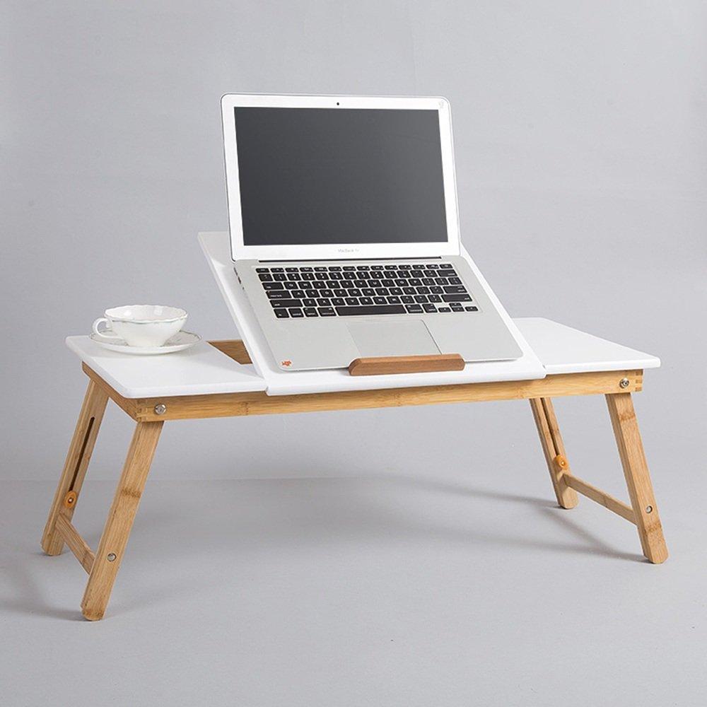 マチョン コンピュータデスク ラップトップデスクベッドデスク小さなテーブルレイジー折り畳みリフトテーブル (色 : 白) B07F5Z7WS4 白 白