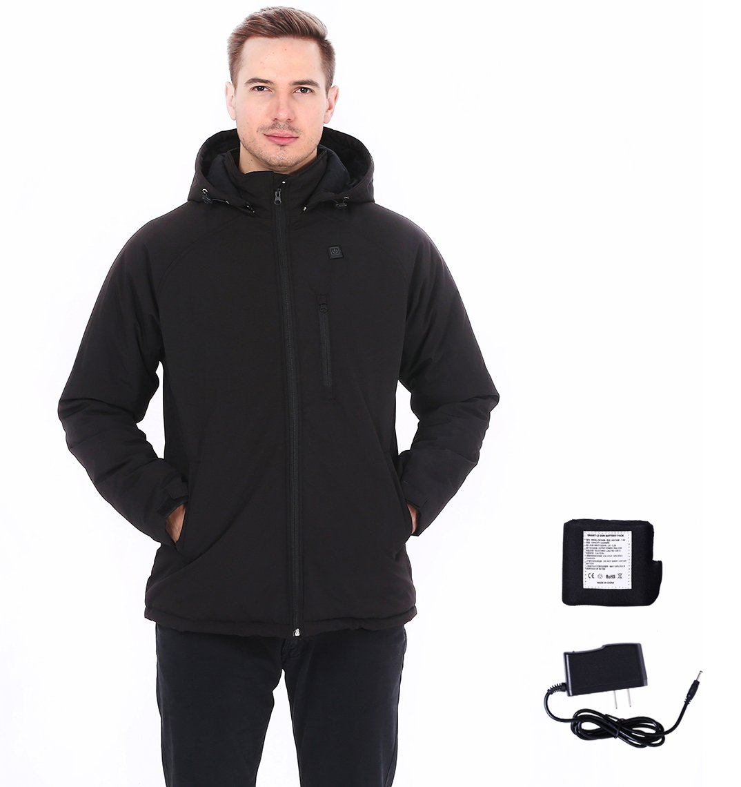 Lacle Men's Wireless Heated Jacket Kit With Battery Pack and Detachable Hood (Black,Small)
