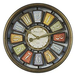 15.5 Vintage Style Floating Dial Open Number Wall Clock in Bronze/Multicolor