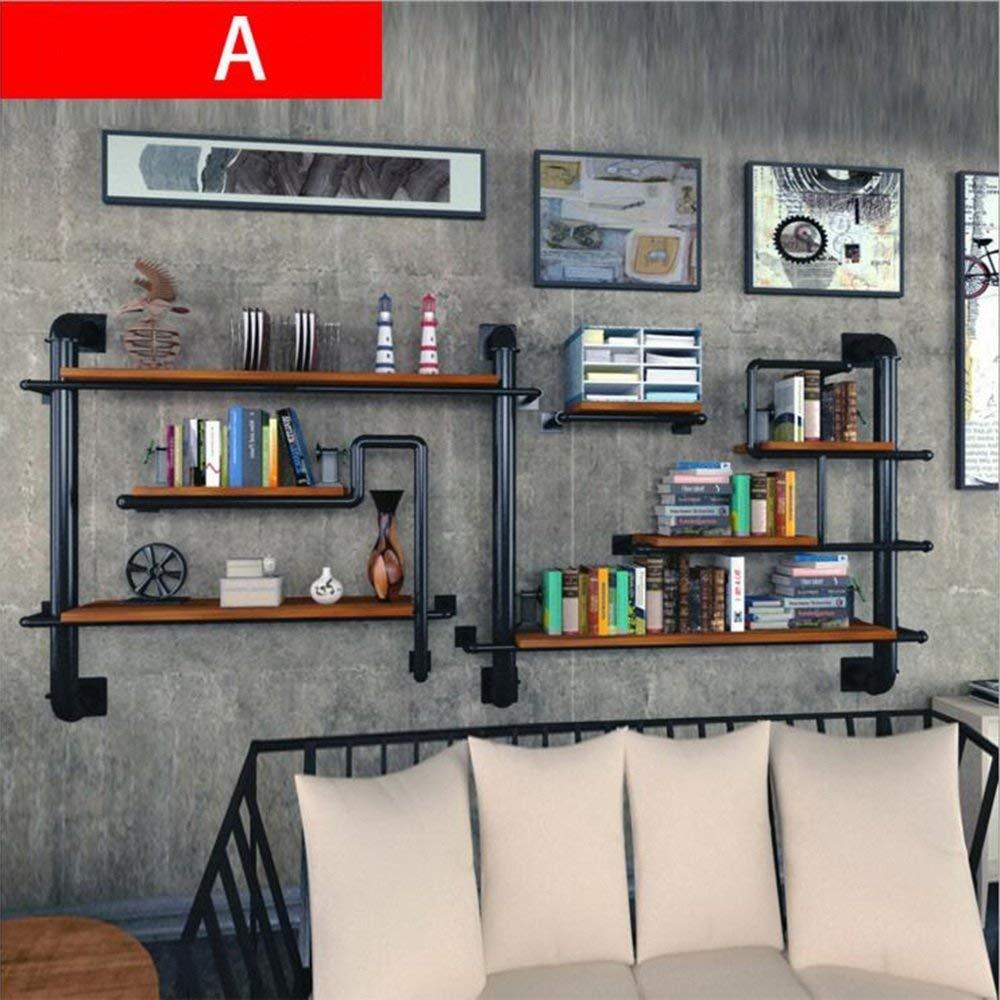 YUEQISONG Bookshelf Wine Rack Iron Solid Wood Shelf for Living Room Bar Cafe, 20020120cm