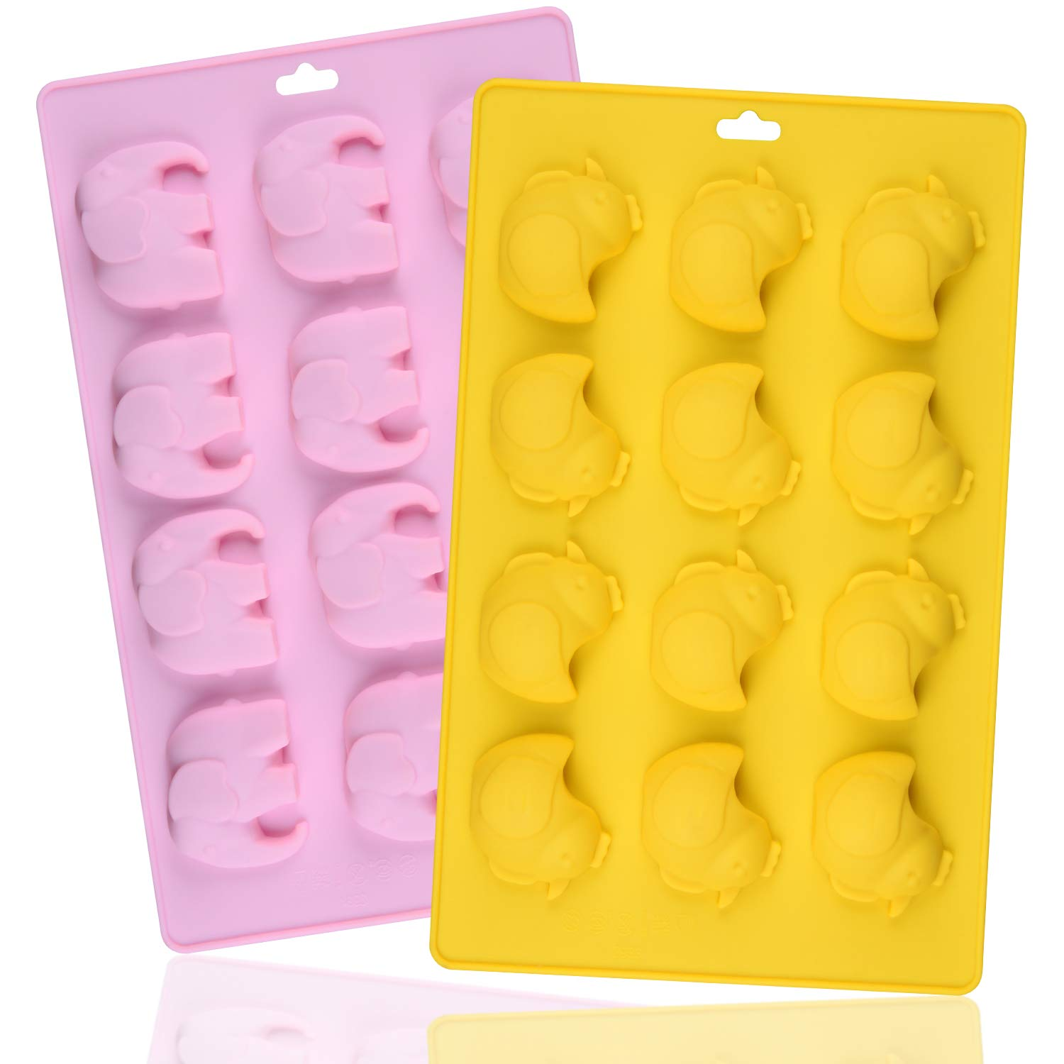 Silicone Candy Molds, SJ Silicone Elephant and Chicken Chocolate Molds, Non-stick Animal Molds for Jelly, Biscuits, Chocolate, Candy, Cupcake, BPA Free, Pack of 2