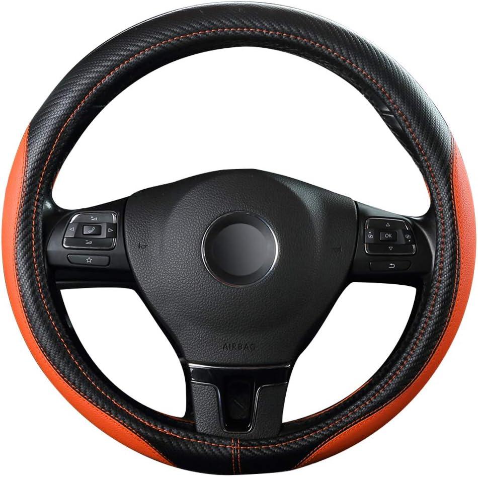 Ofzveo Auto Lenkrad Abdeckung Lenkradschutz Lenkradhülle Kohlefaser Leder Universal 37 38cm 15 Rutschfest Atmungsaktiv Langlebig Orange Auto