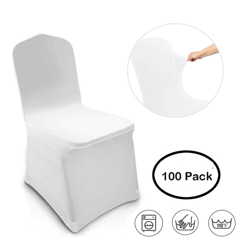 Moroly 椅子カバー 即日出荷 ホワイト ポリエステル スパンデックス ストレッチ 2020モデル ウェディングパーティー 装飾カバー 椅子 B07Q5XL1ZT ダイニング 宴会 100枚パック