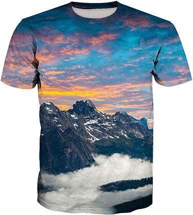 Wehor 3D Camisetas para Hombre Manga Corta Casual Camisa de Polo Algodón Suave Secado Rapido Sudadera Paisaje De Montaña XXL: Amazon.es: Ropa y accesorios