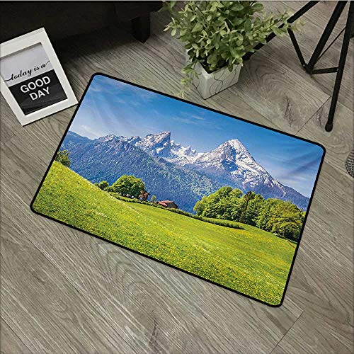 Moses Whitehead Bathroom Entry mats Europe,Blooming Flowers Snowcapped Mountain Tops in Background National Park Bavaria,Green Sky Blue,with Non Slip Backing,20