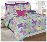 Twin Size 6 Pieces Reversible Printed Butterfly Microfiber Kids Bed In Bag Bedding Comforter with sheets and pillow cases