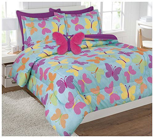 Twin & Full 6 Pcs or 8 Pcs Comforter/ Coverlet / Bed in Bag Set with Toy (Twin, Butterfly)