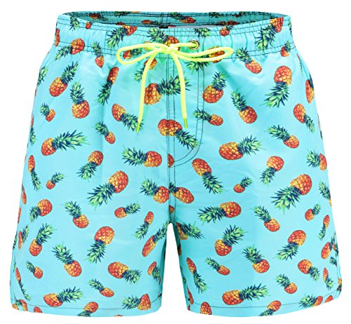 EBMORE® Mens Swim Trunks Shorts Quick Dry with Pockets Mesh Lining for Beach Surfing Sport Swimming Training Fitness Spa (Pineapple, Waist:34''-35'') by EBMORE®