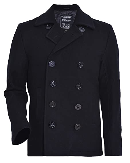 Seibertron Men's Woolen coat US Navy Type 80% Wool USN Pea Coat ...