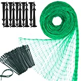 Elcoho Green Anti Bird Net Garden Plant Mesh Netting Protect Against Rodents Birds with 100 Pieces Nylon Cable Ties and 20 Pieces Garden Securing Pegs for Garden or Farm Supplies, 13 by 33 Feet