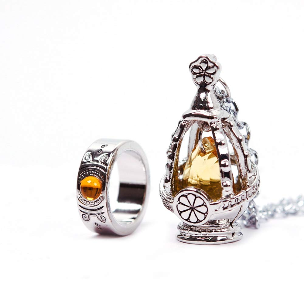 New Puella Magi Madoka Magica Soul Gem Necklace + Ring Cosplay Set Yellow
