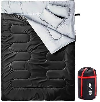 Ohuhu 220x150cm Saco de Dormir Doble Enorme con 2 Almohadas Gratis y una Bolsa de Transporte, ...